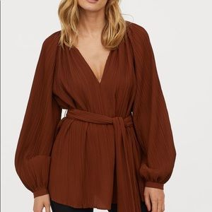 H&M Pleated Blouse with Belt